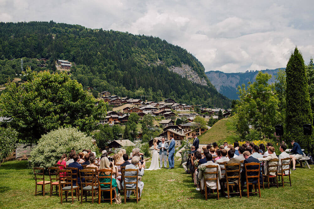 Wedding ceremony at The Farmhouse in Morzine