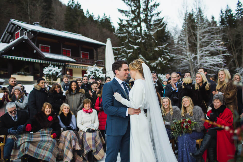 Romantic wedding ceremony surrounded by closest family and friends