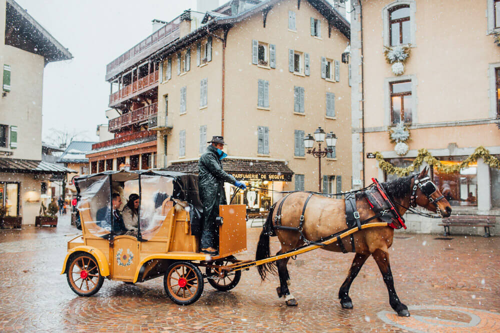 horse drawn carriage ride through the village of Megeve