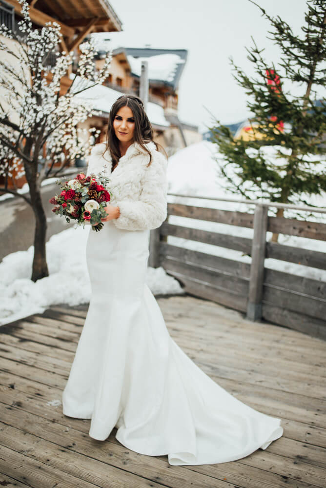 Snowy Winter Alpine Wedding Megeve Bride with a Fur Shawl