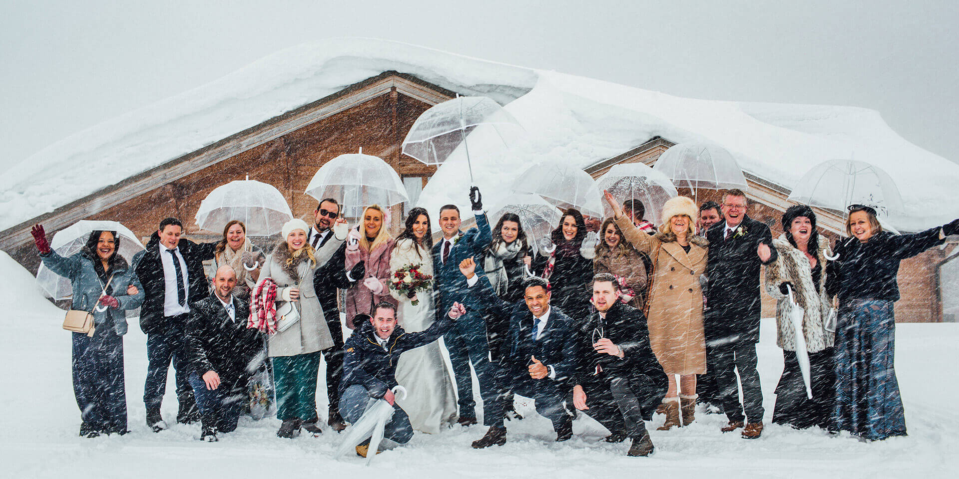 wedding in megeve during snow storm