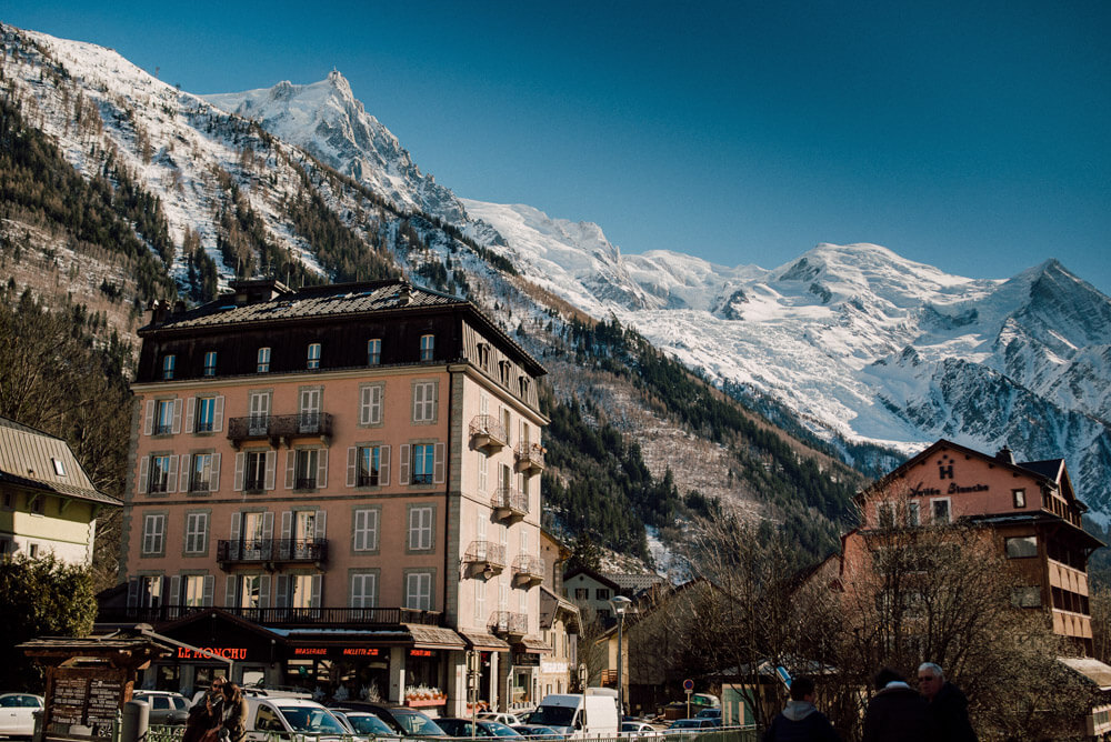 wedding in chamonix at the french alps with the view of the mont blanc