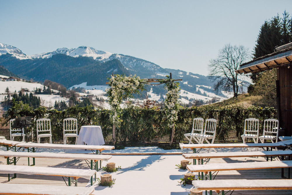 wedding ceremony in chamonix and megeve at winter