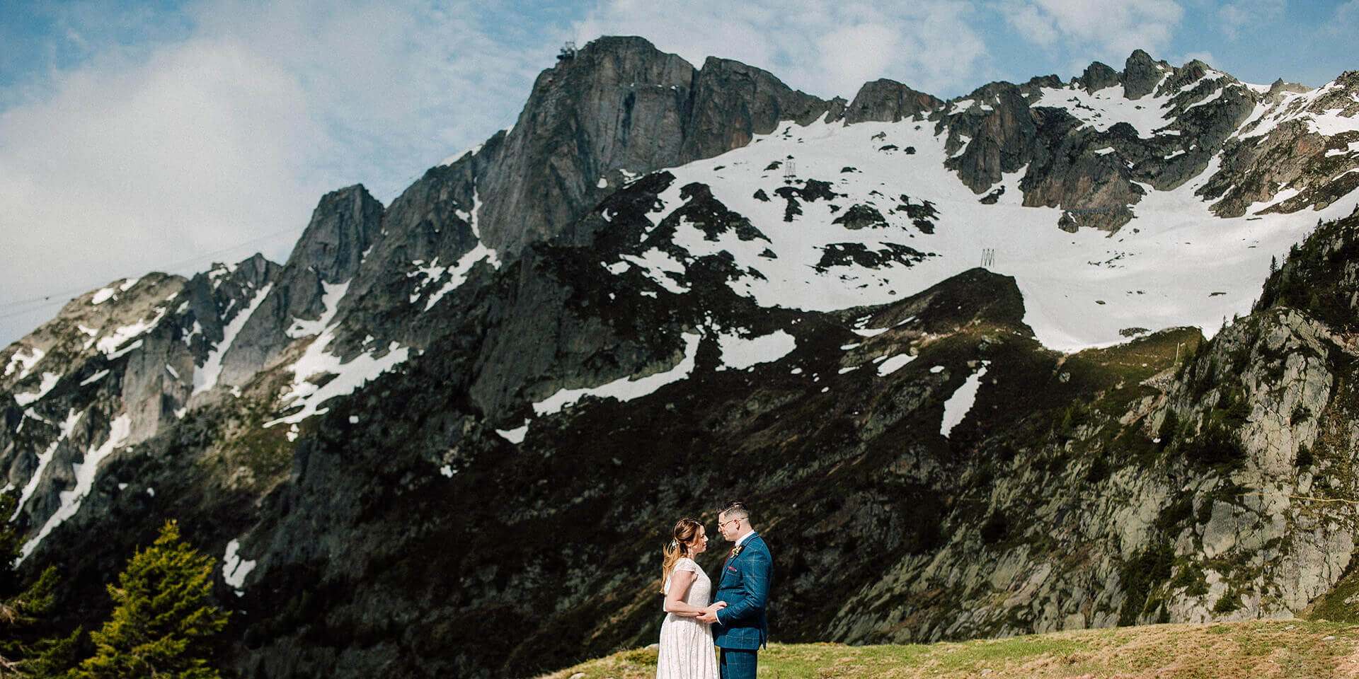 bride and groom on their intimate mountain elopement in chamonix