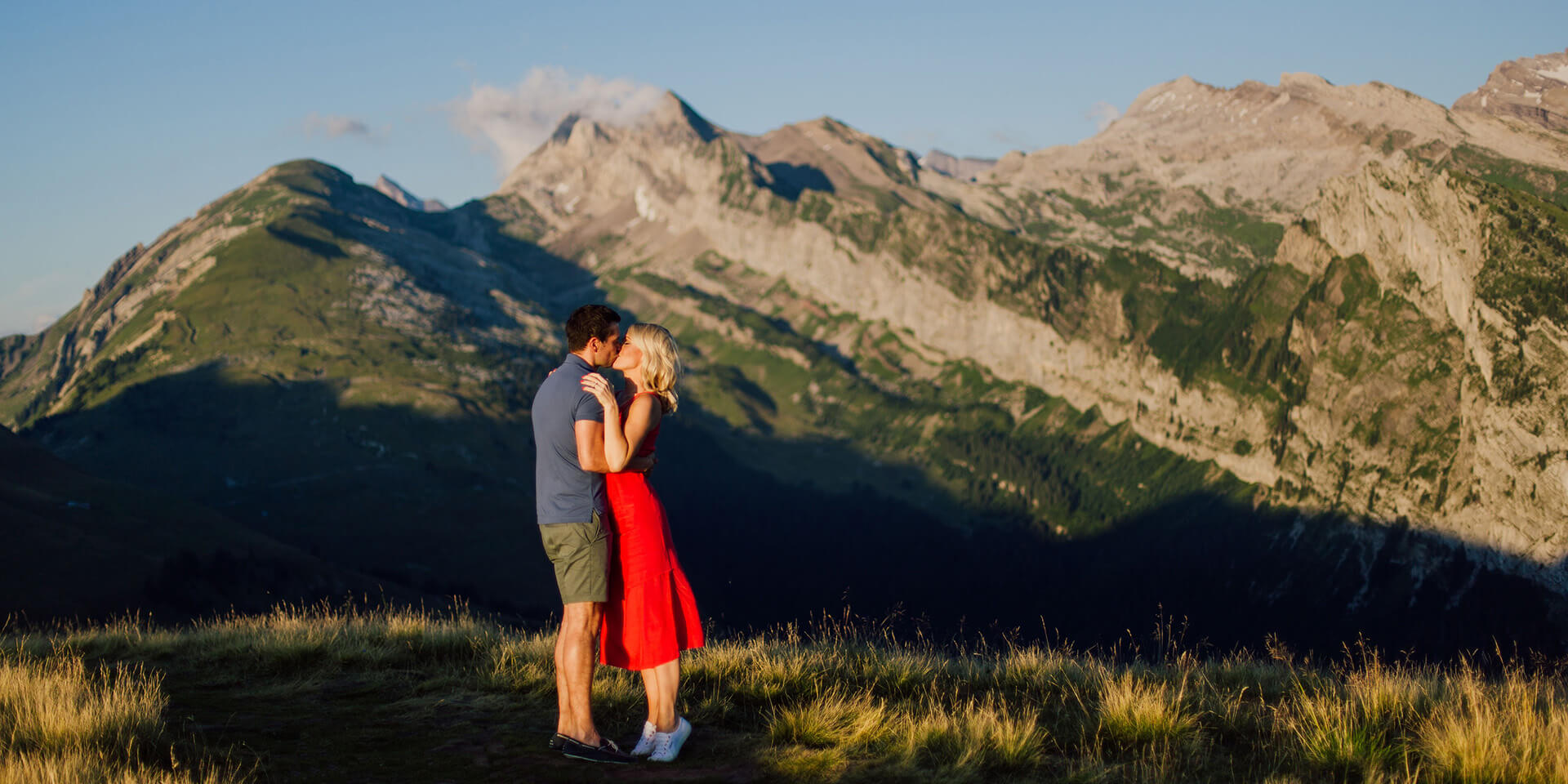 couple during engagement photoshoot in morzine at the french alps