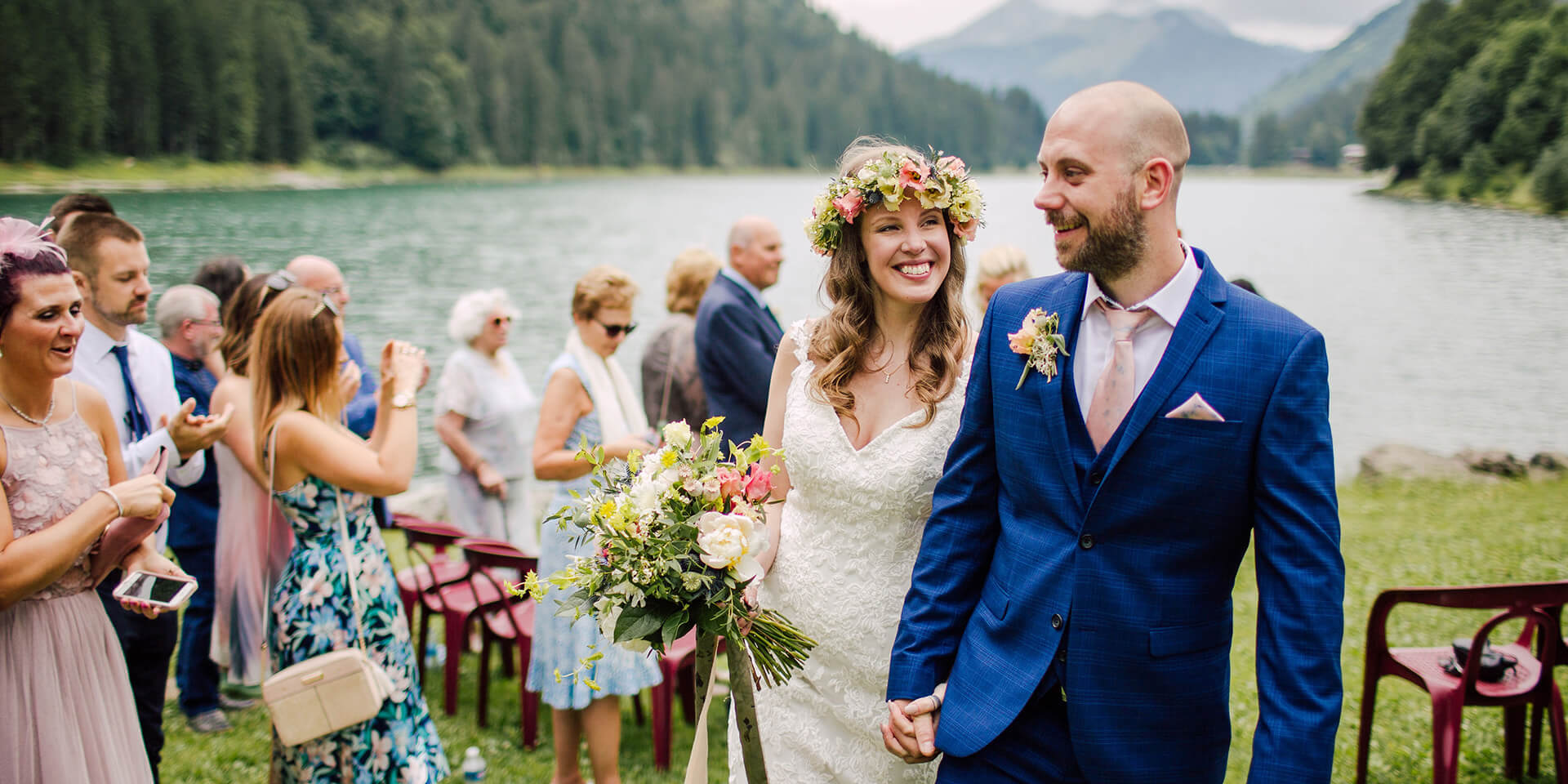 bride and groom getting married in lake montriond at morzine french alps