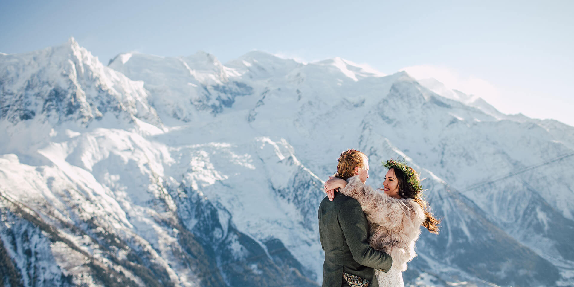 bride and groom having elopement on a mountain top in chamonix in front of the mont blanc